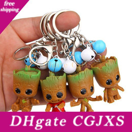 marvel key rings NZ - 4 Styles New Groot Keychain The Avengers Gigure Pendant Cute Key Bell Ring Car Key Chains Marvel Fashion Jewelry Gift L529