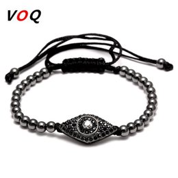 connectors beads macrame Canada - Fashion Style Braided Macrame Bracelet Men Jewelry Pave CZ Evil Eye Connector with 4mm Round Beads Bracelets for Women Gifts