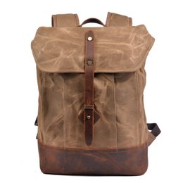 backpack organic Australia - Street retro fashion trend backpack men's waterproof hard wax canvas anti-theft computer bag outdoor mountaineering backpack