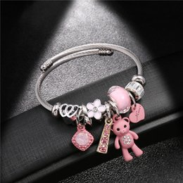 bangle bear Canada - Fashion Bracelets & Bangles Stainless Steel DIY Jewelry Big Pink Bear Pendant Hearts Love Women's Bracelet Cuff Charms Pulseras