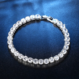 Iced Out Chain Tennis Bracelets CZ Bling Cubic Zirconia Mens Hip Hop Jewelry Silver Rose Gold 4mm Women Fashion Hiphop 1 Row Bangle on Sale
