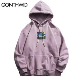 Wholesale van hoodie for sale – custom GONTHWID Van Gogh Starry Night Print Fleece Hoodies Sweatshirts Streetwear Men Hip Hop Pullover Hooded Tops Male Harajuku Jumper MX200813