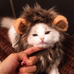Divertido gato doméstico lindo traje de melena de león de la peluca del sombrero del casquillo para el gato del perro de Halloween cosplay de la Navidad ropa del vestido de lujo de la manera creativa en venta