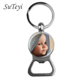 Wholesale Suteyi Personalized Key Chain Bottle Opener Keychain Custom Photo of Your Baby Child Mom Dad Grandparent Loved Family Gift