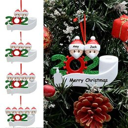 Wholesale 2020 Quarantine Ornament Christmas Tree Hanging Pendant DIY Name Blessing Pendant with Hand Sanitized Christmas Ornament Sea Shipping