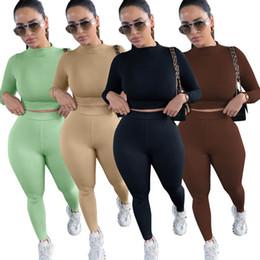 Wholesale brown long yoga pants resale online – Women Tracksuits Sexy Long Sleeve Outfits Ladies Two Piece Suits Sports Yoga Sets Autumn Crop Tops Pants Set Women Sportswear