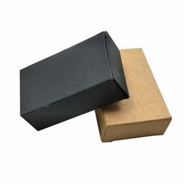 kraft paper carton UK - 50Pcs 4x2x6.5cm Square Black Brown Kraft Paper Foldable Packing Box Gift Carton Package Box Chocolate Small Craft Packaging Box for Storage