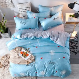 purple bedding sets UK - 58 Home bedding 4pcs flat sheet set blue heart bed linen set sheet pillowcase&duvet cover Cute bird child bedclothes