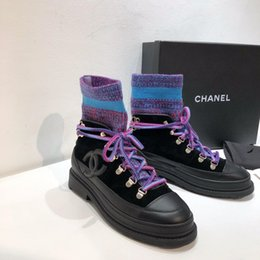 purple martin boots UK - Designer Womens Boots Black Purple Blue Stitching Knitted Stretch Round Head Low Heel High Quality With Box Size 35-39
