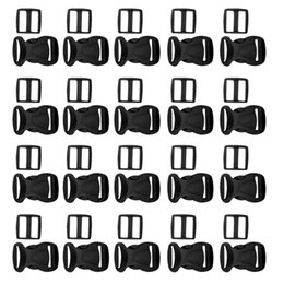strap sliders UK - 20pcs Black Plastic Side Release Buckles + 20pcs Tri-Glide Sliders for Backpack Strap Webbing 0.79\'\' 1\'\' 1.26\'\'
