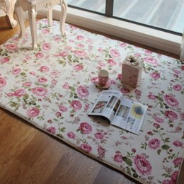 living room floor mats floral NZ - Romantic Floral Room Floor Mats,Sweet Rose Print Carpets For Living Room Modern,Designer Shabby Style Flower Rug Decorative