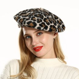 red berets UK - Female Fascinator Hats Mink Cashmere Berets for Women Ladies Leopard Printed Painter Hat Cap Dress Hats Headgear