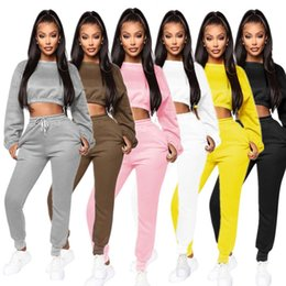 Wholesale women s thick winter leggings for sale - Group buy Women S XL jogger suit thick fleece hoodies pants plain fall winter casual clothing pullover leggings crop top solid color piece set