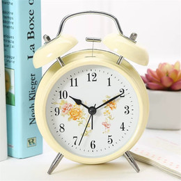 digital bell alarm clock 2021 - Large 3 4 Inches Creative Bedroom Bedside Clock Personality Mute Alarm Clock Metal Digital Nightlights Office Table Bell