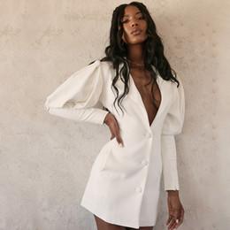 Wholesale puffed jacket for sale – custom Women Long Puff Sleeve Elegant Blazer Autumn V Neck Single Breasted White Office Lady Workwear Jacket Blazer
