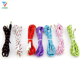 Wholesale iphone fabric braided cords resale online - 3 mm Stereo Audio AUX Cable Braided Woven Fabric wire Auxiliary Cords Jack Male to Male M M m ft Lead for Iphone samsung Mobile Phone