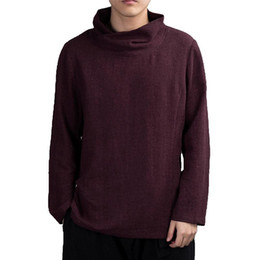 Mens Retro Turtle Neck T-Shirt Long Sleeve Herbst Lose Tees Homme Solid Color Kleidung