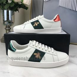 Top qualité Hommes Femmes Sneaker Chaussures Casual Chaussures Low Top Sneakers en cuir Ace Bee Stripes Chaussures de sport Marche Formateurs Scarpe en Solde