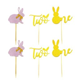 cupcake cakes designs UK - 6pcs Easter Cake Toppers Number Design Cupcake Ornament Picks Cake Decor Dessert Adornment for Party Festival