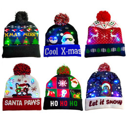 santa beanies Australia - Christmas LED Knitted Beanie Hat Night Light Up Hats Santa Claus Snowman Reindeer Elk Pattern Unisex Hats with Pom Ball Crochet Caps D9908