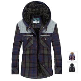 Wholesale cashmere shirt jacket for sale – custom Military Men Casual Flannel Jacket Cotton Winter Thick Warm Shirts Plaid Fleece Camisa masculina Hooded Jackets M XL