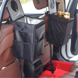 Wholesale Waterproof Car Trash Can with Lid and Storage Pockets Black Rubbish Cases Car Organizer Storage Bag Seat Waste Container Car Interior