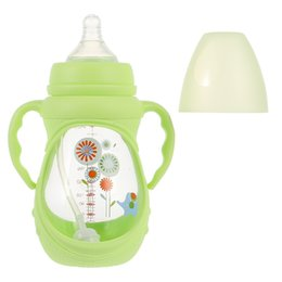 apple shaped bottle NZ - 1pc Simple Baby's Wide Diameter Silicone Anti-drop Cover Glass Baby Bottle
