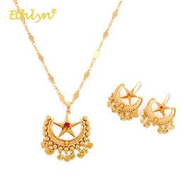 big ethnic jewelry Australia - Ethlyn 2020 Gold Color Beautiful Ethnic Wedding Luxury Jewelry Sets for Women Accessories Lock Star Big Necklace Drop Earrings