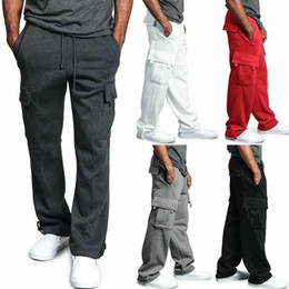 Wholesale pants cargo resale online - Mens Cargo Pants Joggers Cotton Sweat Pants Workout Loose Trousers Long Mens Sportswear Sweatpants Hip Hop Streetwear XL
