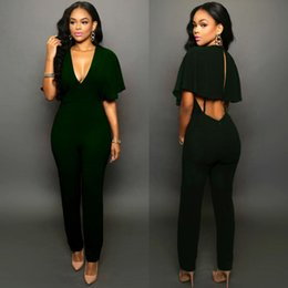 Wholesale tight fit v neck resale online – Women Sexy V Neck Tight Fitting Pants Ruffles Sleeve Hollow Out Back Long Jumpsuit Leisure Casual Jumpsuit