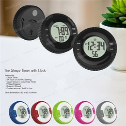 magnetic clocks UK - Creative Tyre Shape LCD Digital Kitchen Timer Round Portable Magnetic Countdown Alarm Clock Timer Kitchen Tool Wholesale