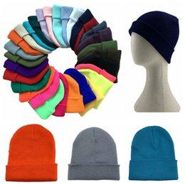 Wholesale hips stretch resale online - Candy Knitted Hat Winter Outdoor Beanie Wool Skull Cap Hip Hop Crochet Ski Caps Headwear Baggy Stretch Chunky Headgear Hats LJJP520