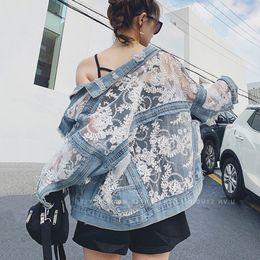 Wholesale long sleeve coat jeans lace resale online – Streetwear Lace Patchwork Jean Hole Denim Jacket Coat Women Oversized Long Sleeve Perspective Flower Embroidery Loose Overcoat