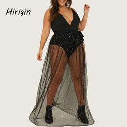 Wholesale plus size swimwear for sale – plus size 2020 summer Sexy Beach cover ups dresses black See through Swimwear Cover Up Swimsuit Chiffon Skirt Plus size lady Bikini Wraps