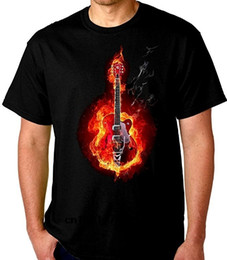 guitars fire 2020 - Men T shirt Flaming Electric Guitar on Fire T Shirt Black 100% Cotton funny t-shirt novelty tshirt women cheap guitars f