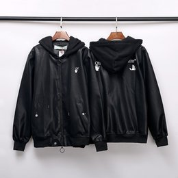 Wholesale leather sleeve cardigan for sale – winter Fashion brand OFF autumn and winter cardigan leather jacket OW hooded leather jacket windproof jacket for men