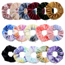 Wholesale Women Zipper Scrunchies Tie Dye Velvet Pleuche Scrunchy Flannel Zipper Hair Ties Ropes Elastic Hair Band Holder Girls Ponytail Pocket D91506