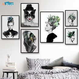 living room art picture abstract NZ - Canvas Art Woman Flowers Wall Art Canvas Painting For Girls Nordic Posters And Prints Wall Pictures For Living Room Abstract