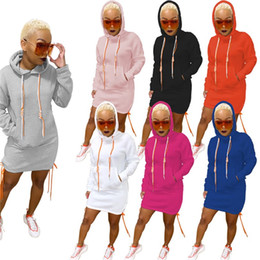 Discount long sexy hooded dresses Women designer S-2XL plain fall sexy mini fashion dresses long sleeve hooded night club solid color dresses casual cloth
