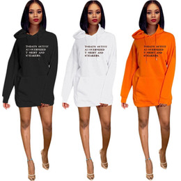 Wholesale dress colors for black women for sale – plus size 3 Colors Womens Deigner Hoodie High Street Letter Printed Trousers Women Casual Sweatshirt Dresses for Spring Autumn