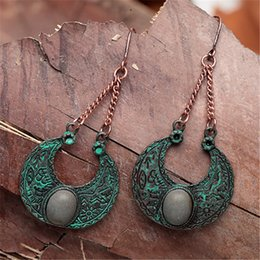 natural metal jewelry UK - FYUAN Vintage Design Patina Metal Earrings for Women Natural Stone Lucky Totem Alloy Dangle Drop Earrings Jewelry Accessories