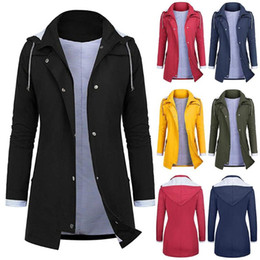 Wholesale black trench coats for women resale online - Hot Fashion Women Trench Coat Waterproof Solid Color Trench Coat For Women moda feminina Tight Waist Hooded gabardina mujer