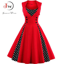 Wholesale sexy rockabilly dresses for sale – plus size S XL Women Robe Retro Vintage Dress s s Rockabilly Dot Swing Pin Up Summer Party Dresses Elegant Tunic Vestidos Casual
