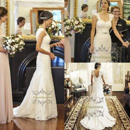 fit flare ruffle wedding dresses Canada - Mermaid   Trumpet Square Neck Lace Wedding Dresses Court Train Bride Gowns with Buttons Fit and Flare Skirt