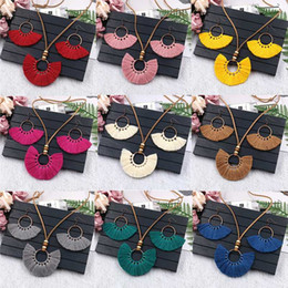hand woven earrings Australia - 3Pcs Bohemian Colorful Tassel Necklace Earrings Set Hand-woven Earrings Leather Rope Sweater Chain Women Clothing Jewelry Set