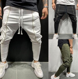Wholesale working pants for sale – dress 2020 Men Hip Hop Harem Slim Workout Work Pencil Pants Male Casual Cargo Jogging Sweatpants Black Grey Trousers Fashion