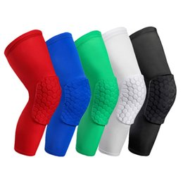 elastic knee sleeve support UK - A pair Basketball Knee Pads Sleeve Honeycomb Brace Elastic Kneepad Protective Gear Patella Foam Support Volleyball Support