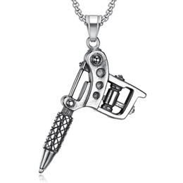 chain link machine UK - Stainless Steel Vintage Tattoo Machine Pendant Necklace Fashion Trend Punk Rock Biker Tattoo Necklaces Jewelry Gift For Him