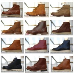 2020 new Hot Sale-Men's Boots Spring Red Ankle Boots Man Wing Warm Outdoor Work Martin Cowboy Motorcycle Heel Male Lace-up J3dH#