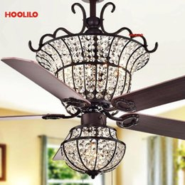crystal ceiling fan lights 2021 - Luxurious Crystal Ceiling Fan+lamp With Light Charla 4-light Crystal 5-blade 52-inch Optional Remote ventilador de